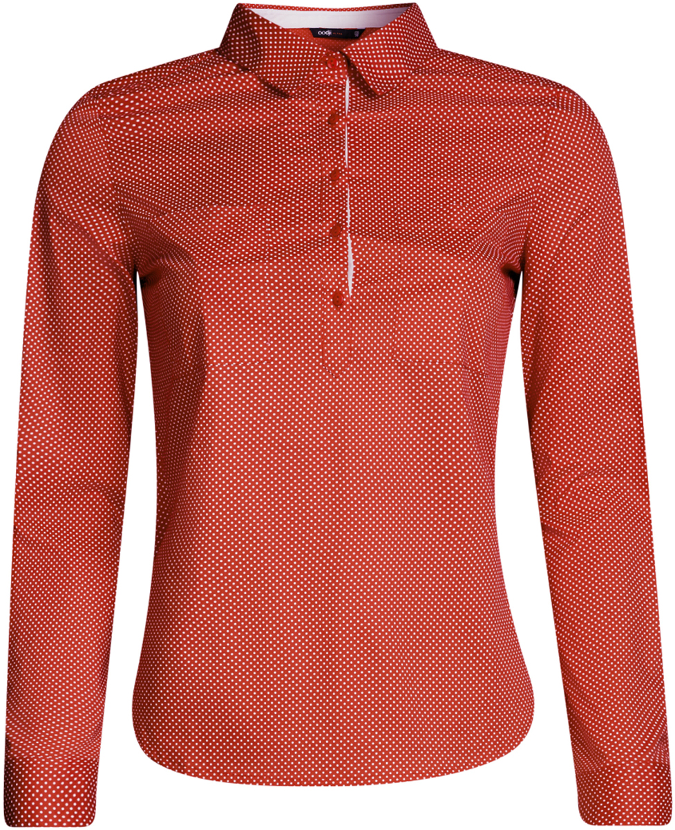Рубашка женская oodji Ultra, цвет: красный, белый. 11403222B/42468/4512D. Размер 44-170 (50-170)