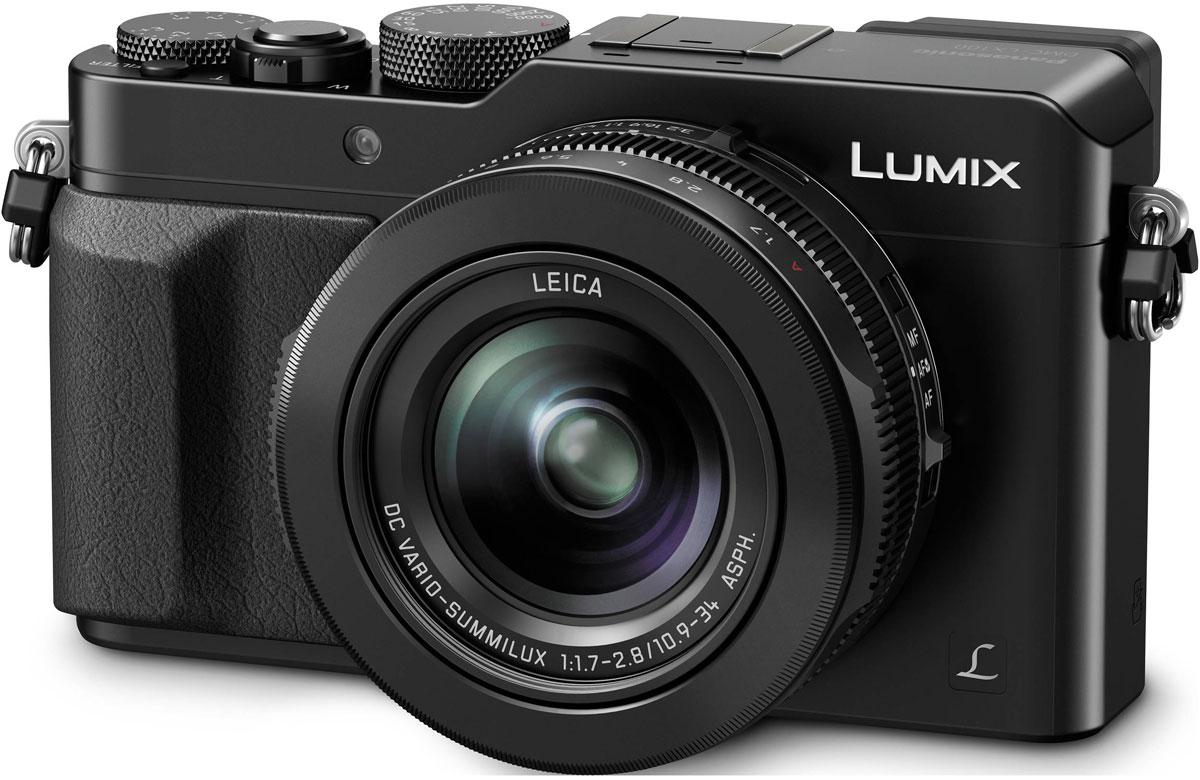 Panasonic Lumix DMC-LX100, Black цифровая фотокамераDMC-LX100EEKДинамические сюжеты становятся произведениями искусства. Сочетание удивительного объектива и большого сенсора компактной камеры Panasonic Lumix DMC-LX100 с высокотехнологичными функциями и возможностью управления в аналоговом режиме позволяет воплотить замысел ее создателей по созданию снимков поразительного качества.Фотокамера разработана для передачи поразительной градации тонов и богатых текстур во всей их естественной красоте. Она оснащена новым большим высокочувствительным МOS-сенсором размером 4G дюйма с поддержкой различных соотношений сторон. При использовании разрешения в 12,8 мегапикселей (соотношение сторон 4:3) выполняется регулировка объема поступающею света для улучшения отношения сигнал-шум. Это дает возможность получать четкие изображения с минимальным шумом даже при ISO25600.Специально разработанный объектив LEICA DC VARIO-SUMMILUX отличается оптимизированной оптической системой, состоящей из 5 асферических линз, изготовление которых стало возможным благодаря уникальной технологии отливки асферических линз компании Panasonic. В сочетании с большом MOS-сенсором этот объектив позволяет снимать с небольшой глубиной резкости, а также выразительными эффектами размытия заднего плана и боке. Специально разработанная диафрагма с 9 лезвиями также позволяет создавать изображения плавной округлой окормы с эффектом боке.Опытные фотографы могут еще больше рас крыть свой творческий потенциал с помощью различных дополнительных функций камеры DMC-LX100. Камерой легко управлять в аналоговом режиме с помощью соответствующих колец и лимбов, таких как кольцо управления диафрагмой, кольцо зума и фокусировки, лимб установки выдержек затвора и лимб коррекции экспозиции.Функция брекетинга соотношения сторон позволяет делать изображения со всеми соотношениями сторон — 4:3, 32.169 и 1 1 — одновременно.В камере используются преимущества цифровой фотографии, а именно брекетинг по балансу белого, когда одним спуско
