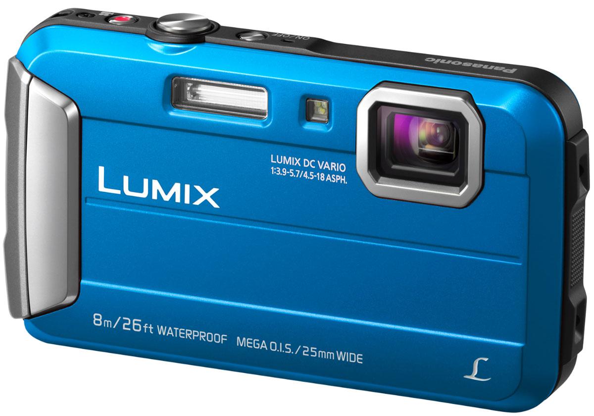 Panasonic Lumix DMC-FT30, Blue цифровая фотокамераDMC-FT30EE-APanasonic Lumix DMC-FT30 отличается повышенной надежностью и работает под водой на глубине до 8 м / 26 футов. Режимы замедленной съемки, Творческой панорамы и масса прочих, а также богатый арсенал замечательных фильтров делают работу с камерой еще приятнее.Водостойкость и надежность для экстремального использования:Порадуйте себя удобной универсальной сьемкой как в городе, так на природе. Эта модель идеально подходит для любых условий.Встроенная память 220 МБ:220 МБ встроенной памяти для лишних 34 кадров на случай, если память на карте закончится.Восхитительные фотографии под водой:Воспроизведение красного цвета в режиме расширенной подводной съемки компенсирует недостаток красного цвета при подводной съемке и делает изображение более натуральным и естественным. Режимы Спорт, Снег и Пляж и серфинг также легко доступны в удобном меню.MEGA O.I.S. (Оптический стабилизатор изображения):MEGA O.I.S. (оптический стабилизатор изображения) уравновешивает дрожание рук при съемке, что предотвращает размытие фотографий. Даже малейшая дрожь рук точно улавливается с частотой до 4000 раз в секунду и компенсируется для обеспечения высокой четкости и ясности изображения.Творческая панорама:Творческая панорама позволяет делать горизонтальные и вертикальные панорамные снимки, последовательно накладывая кадры друг на друга, и отражать эффекты фильтров Творческого контроляТворческий контроль и Творческая ретушь:Творческий контроль (в режиме записи) и Творческая ретушь (в режиме воспроизведения) дарят вам возможность проявить свой творческий талант и преобразить обыденные ситуации в совершенно особенные сцены.Эффекты фильтров Выразительный. Ретро. Высокий ключ, Низкий ключ, Сепия, Динамический монохромный. Выразительное искусство. Высокодинамичный, Кросс-процесс, Игрушечный эффект, Эффект миниатюры, Один оттенокЗапись видео в формате MP4HD:Камера позволяет записывать динамическое видео в формате МР4 HD 1280х720р. Запись видео 