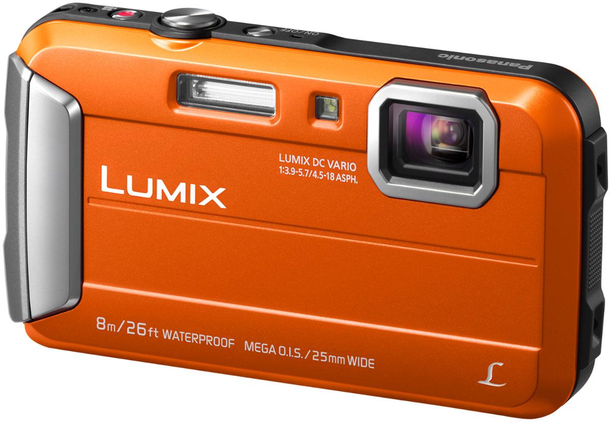 Panasonic Lumix DMC-FT30, Orange цифровая фотокамераDMC-FT30EE-DPanasonic Lumix DMC-FT30 отличается повышенной надежностью и работает под водой на глубине до 8 м / 26 футов. Режимы замедленной съемки, Творческой панорамы и масса прочих, а также богатый арсенал замечательных фильтров делают работу с камерой еще приятнее.Водостойкость и надежность для экстремального использования:Порадуйте себя удобной универсальной сьемкой как в городе, так на природе. Эта модель идеально подходит для любых условий.Встроенная память 220 МБ:220 МБ встроенной памяти для лишних 34 кадров на случай, если память на карте закончится.Восхитительные фотографии под водой:Воспроизведение красного цвета в режиме расширенной подводной съемки компенсирует недостаток красного цвета при подводной съемке и делает изображение более натуральным и естественным. Режимы Спорт, Снег и Пляж и серфинг также легко доступны в удобном меню.MEGA O.I.S. (Оптический стабилизатор изображения):MEGA O.I.S. (оптический стабилизатор изображения) уравновешивает дрожание рук при съемке, что предотвращает размытие фотографий. Даже малейшая дрожь рук точно улавливается с частотой до 4000 раз в секунду и компенсируется для обеспечения высокой четкости и ясности изображения.Творческая панорама:Творческая панорама позволяет делать горизонтальные и вертикальные панорамные снимки, последовательно накладывая кадры друг на друга, и отражать эффекты фильтров Творческого контроляТворческий контроль и Творческая ретушь:Творческий контроль (в режиме записи) и Творческая ретушь (в режиме воспроизведения) дарят вам возможность проявить свой творческий талант и преобразить обыденные ситуации в совершенно особенные сцены.Эффекты фильтров Выразительный. Ретро. Высокий ключ, Низкий ключ, Сепия, Динамический монохромный. Выразительное искусство. Высокодинамичный, Кросс-процесс, Игрушечный эффект, Эффект миниатюры, Один оттенокЗапись видео в формате MP4HD:Камера позволяет записывать динамическое видео в формате МР4 HD 1280х720р. Запись виде