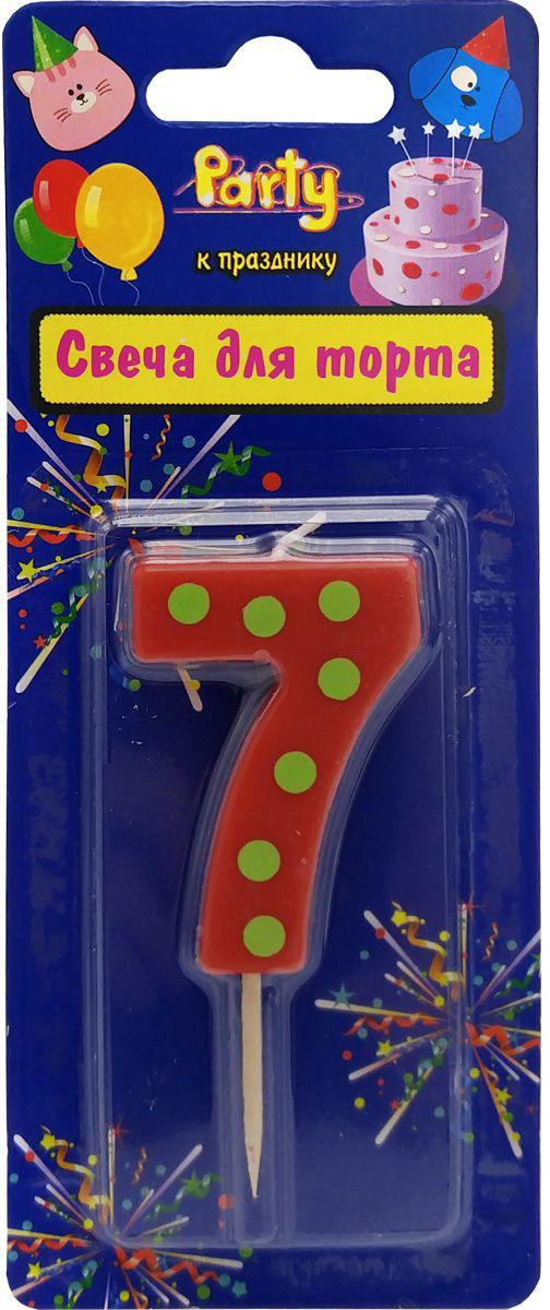 Action! Свеча-цифра для торта 7 лет цвет красный susy card свеча цифра для торта радужная 9 лет