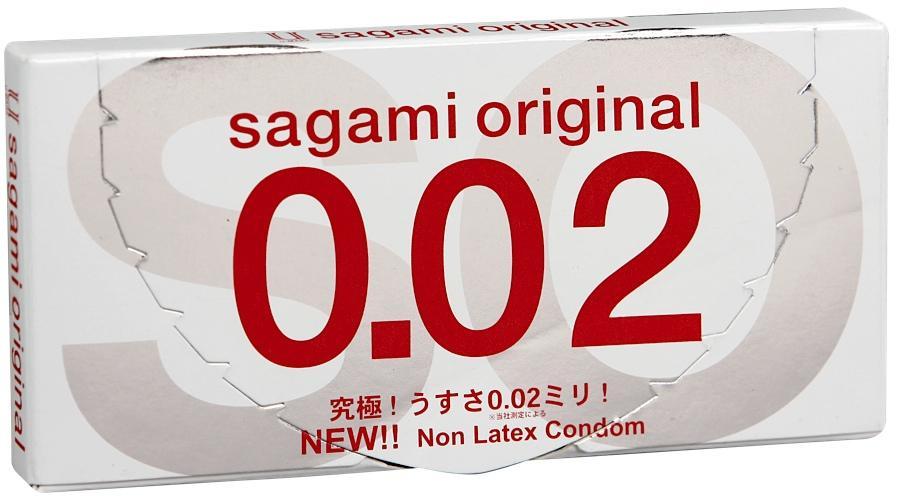 Sagami Original 002 - 2 шт Полиуретановые презервативы 0,02 мм143141Sagami original 002 - самые тонкие и надежные презервативы в Мире!Толщина стенки 0.02mm - в три раза тоньше, чем у стандартных латексных презервативов.Прочность полиуретановых презервативов в 2 раза выше в тестах на растяжение и в 3 раза выше в тестах на объемное расширение.Их теплопроводность в 7 раз выше, чем у латекса. Тепло передается так, как если бы презерватива не было.
