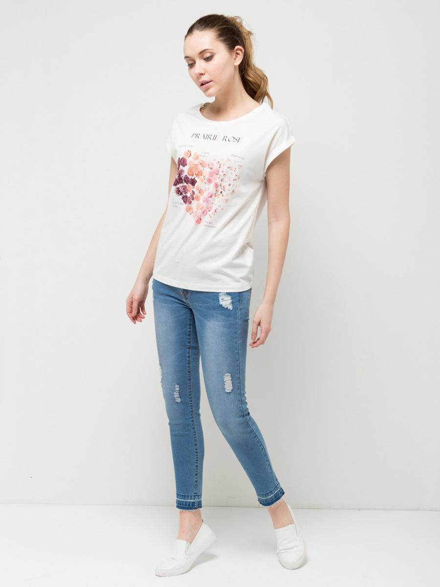 Футболка женская Sela, цвет: молочный. Ts-311/1125-7112. Размер L (48) футболка женская moodo цвет белый сиреневый серый l ts 2045 white размер m 46