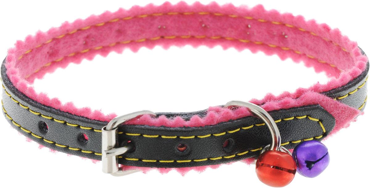 Ошейник для кошек и собак Каскад, с бубенчиками, цвет: черный, розовый, ширина 10 мм, длина 28 см петлайн ошейник с поводком нейлоновый для кошек и собак petline бабочка
