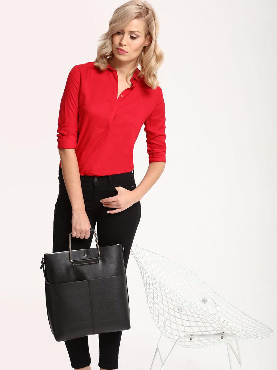 Рубашка женская Top Secret, цвет: красный. SKL2221CE38[E]. 38 (46)SKL2221CEРубашка женская Top Secret выполнена из 100% вискозы. Модель с отложным воротником застегивается на пуговицы.
