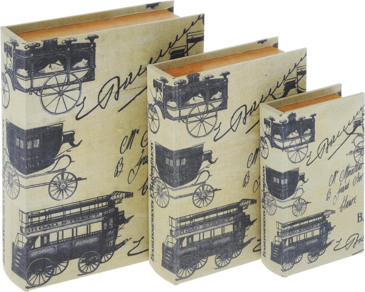 Набор шкатулок для рукоделия Bestex, 3 шт. ZW0012427701698Набор Bestex состоит из трех шкатулок, стилизованных под книги. Шкатулки, изготовленные из МДФ и текстиля, оформлены винтажными изображениями. Внутри шкатулки обтянуты тканью. Закрываются шкатулки на магниты. Изящные шкатулки с ярким дизайном предназначены для хранения мелочей, принадлежностей для шитья и творчества и других аксессуаров. Такой набор красиво оформит интерьер комнаты и поможет хранить ваши вещи в порядке, а также станет отличным подарком. Размер маленькой шкатулки: 13 х 22,5 х 5 см. Размер средней шкатулки: 20 х 28,5 х 7 см. Размер большой шкатулки: 26 х 34 х 8,8 см.