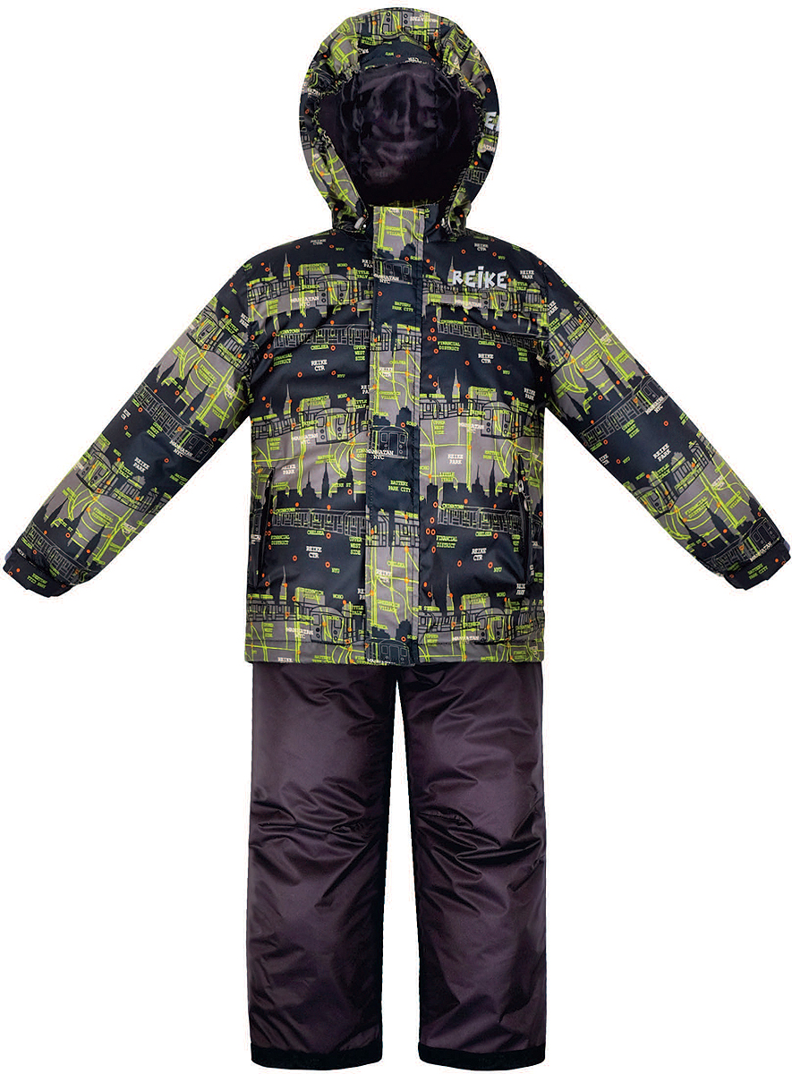 Комплект верхней одежды для мальчика Reike Метро: куртка, полукомбинезон, цвет: черный. 36938115. Размер 110, 5 лет36 938 115_Subway blackКомплект для мальчика Reike Метро состоит из куртки, декорированной принтом в городской стилистике, и однотонного полукомбинезона. Комплект выполнен из ветрозащитной, водонепроницаемой и дышащей мембранной ткани на подкладке со вставками из микрофлиса (спинка, грудь куртки). Куртка дополнена съемным регулирующимся капюшоном, тремя карманами и светоотражателями. Ветрозащитная планка на кнопках и липучках вдоль молнии не допустит проникновения холодного воздуха.Завышенная талия и регулируемые подтяжки полукомбинезона гарантируют удобную посадку по фигуре. Низ усилен защитой от истирания. Оснащены двумя боковыми карманами на молнии, а также съемными штрипками. Особенности комплекта: - базовый уровень;- коэффициент воздухопроницаемости: 2000гр/м2/24 ч;- водоотталкивающее покрытие: 2000 мм.