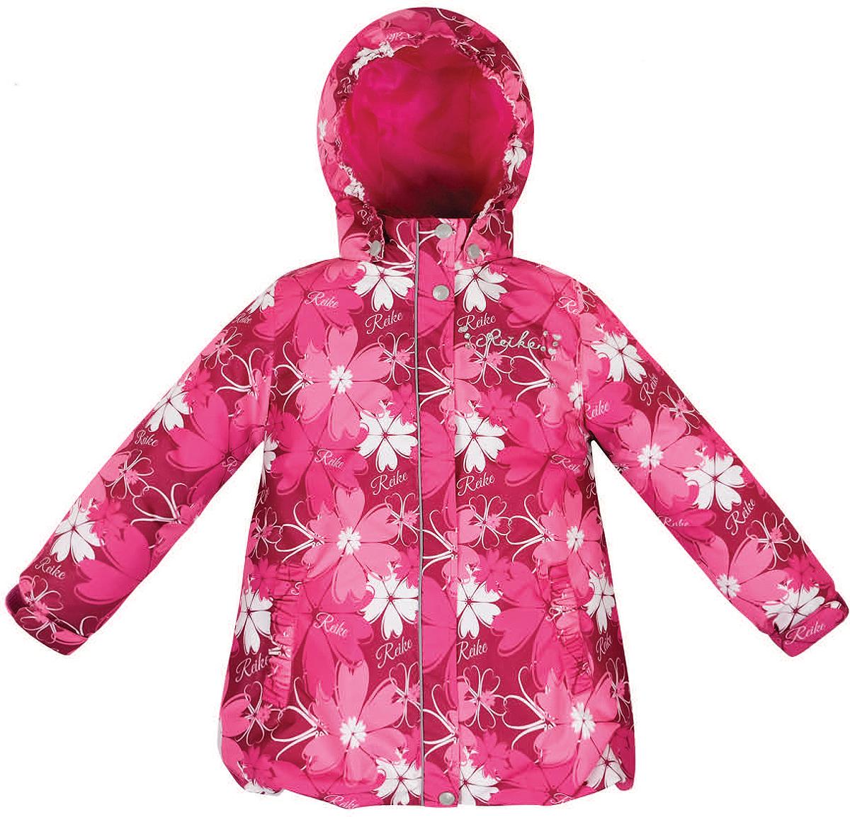 Куртка для девочки Reike Космея, цвет: бордовый. 36946003. Размер 128, 8 лет36 946 003_Cosmei bordeauxСтильная куртка для девочки Reike Космея выполнена из ветрозащитного, водоотталкивающего и дышащего материала с подкладкой из микрофлиса, обеспечивающей дополнительный комфорт. Модель с воротником-стойкой, защищающим от ветра, застегивается на молнию с ветрозащитной планкой на кнопках и оформлена цветочным принтом в стиле серии. Манжеты рукавов на резинке дополнительно регулируются с помощью липучек. Модель дополнена съемным капюшоном, утянутым резинкой, двумя прорезными карманами, утяжкой по низу изделия и светоотражающими элементами. На груди куртка декорирована серебристой вышивкой и стразами. Особенности изделия:- базовый уровень; - коэффициент воздухопроницаемости: 2000гр/м2/24 ч;- водоотталкивающее покрытие: 2000 мм.