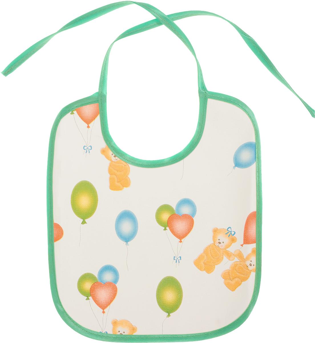 Колорит Нагрудник Мишки с шариками цвет зеленый 20 х 22 см