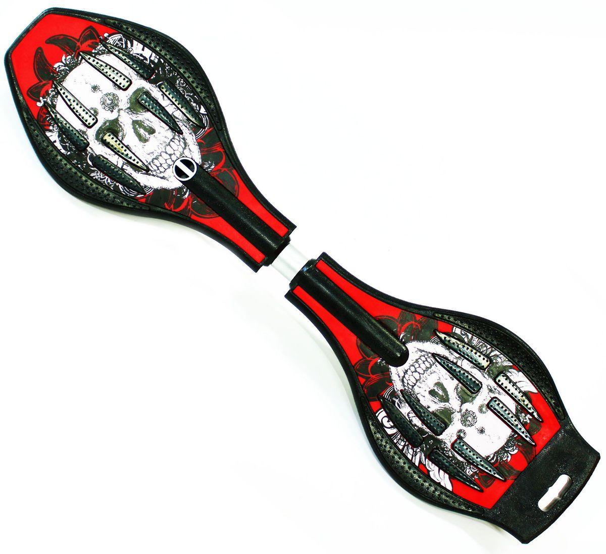 Роллерсерф Dragon Board Calavera, цвет: красный, черныйво2229Роллерсерф Dragon Board Calavera - это уникальный скейтборд на двух колесах. Полиуретановые колеса на высокоскоростных подшипниках позволяют быстро разогнаться и катиться долгое время без остановок. Подшипники крутятся легко и без усилий. Колеса скейтборда выполнены из прочного полиуретана и вращаются на 360°. Легкая и прочная пластиковая платформа со специальным противоскользящим покрытием состоит из двух частей, прочно соединенных стальной торсионной пружиной. Роллерсерф предусмотрен для пользователей в возрасте от 5 лет и рассчитан на вес до 70 кг. Быстрый и маневренный роллерсерф Waveboard - это желаемый подарок для каждого ребенка.