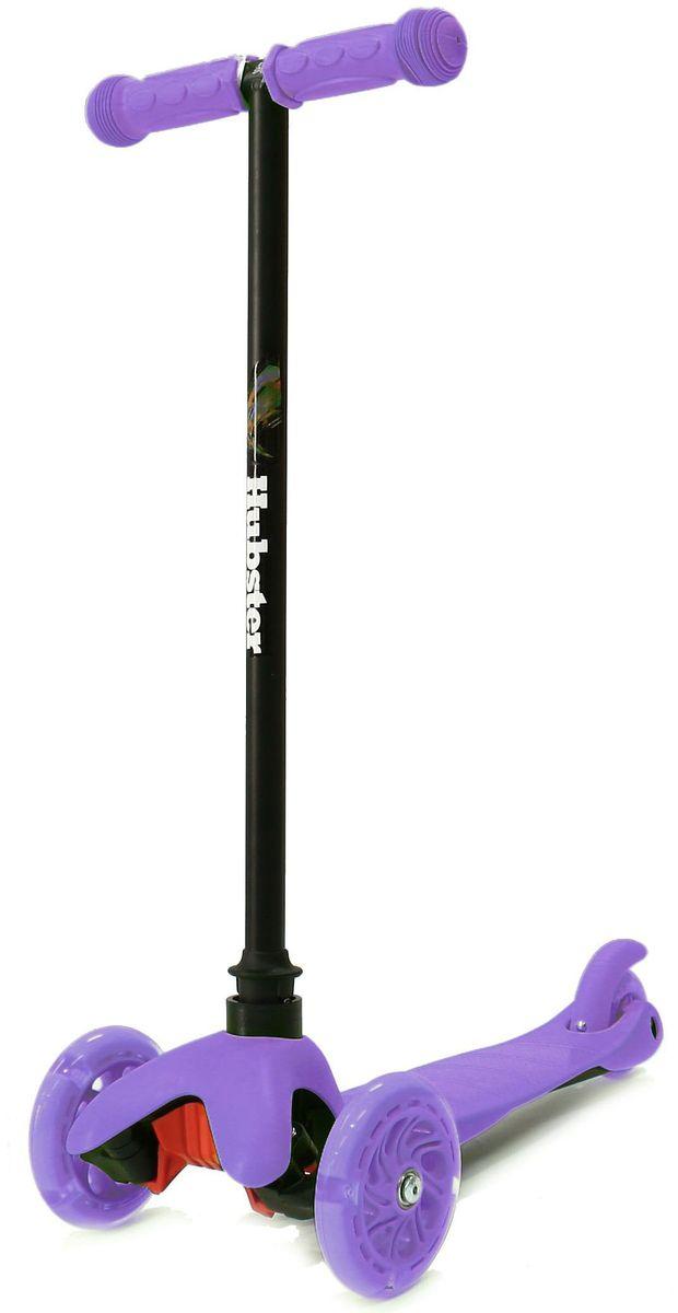 Самокат трехколесный Hubster Mini Flash, цвет: фиолетовый2246Мини-самокат Hubster Mini flash предназначен для самых маленьких детей от 2 лет. Спереди модели расположены 2 светящихся колеса, сзади - 1 спаренное для обеспечения устойчивости. Рама сделана из сплава алюминия, поэтому вес самоката не более 2,5 кг. Светящиеся колеса!Высота руля от пола мин/макс: 64 см. Ширина руля: 25 см. Ширина деки: 11 см. Длина деки: 36 см. Размер колес: 120 мм. Максимальная нагрузка: 25 кг. Подшипники: ABEC7. Вес: 1,6 кг.