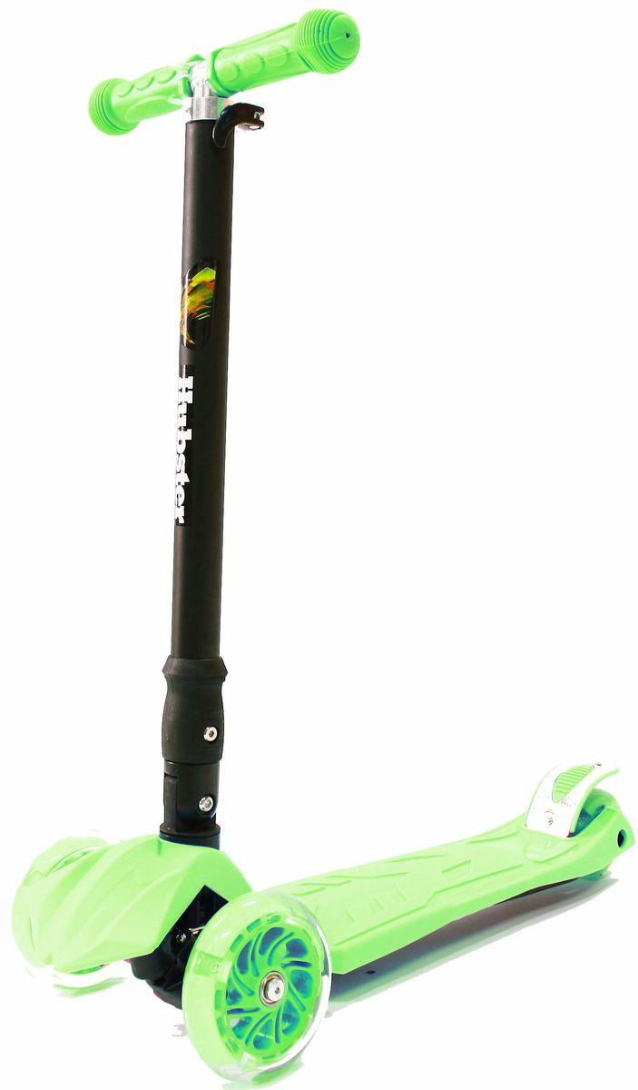 Самокат Hubster Maxi Plus Flash, цвет: зеленыйво2260Подходит для мальчиков и девочек.Складная конструкция.Диаметр переднего колеса: 125 мм.Диаметр заднего колеса: 80 мм.Толщина: 24 мм.Максимальная нагрузка: 50 кг.Материал колес: полиуретан.Высота руля: 65-88 см.Вес: 2,5 кг.