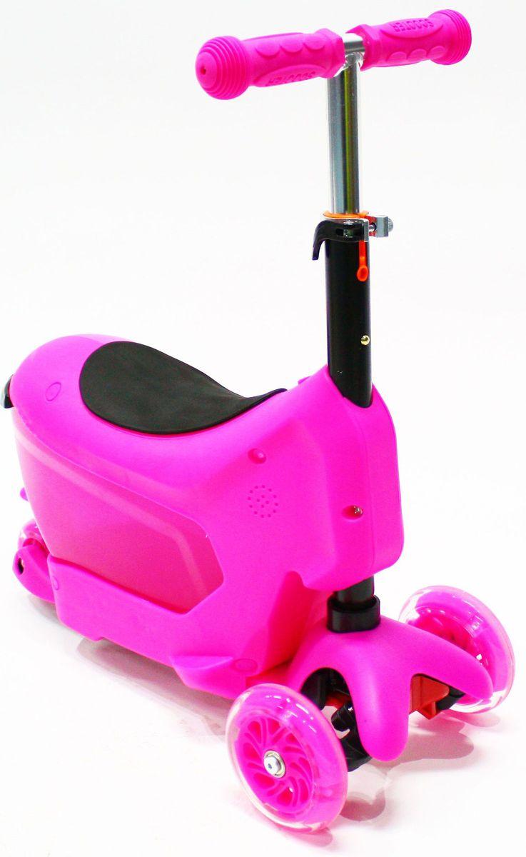 Самокат трехколесный Hubster Comfort, цвет: розовыйво2275Самокат Hubster Comfort обязательно понравится вашему ребенку.Hubster Comfort - детский трехколесный самокат-каталка, подходит для самых маленьких детей. Это универсальный самокат-трансформер с сиденьем 3 в 1: каталка с багажником (корзинкой) для игрушек, каталка без багажника, самокат с регулируемым по высоте рулем.Максимальная нагрузка на самокат - до 50 кг.Вес: 2 кг.Упаковка: 59 x 26 x 20 см (0,03 м3).Возраст oт 2 до 5 лет. Максимальная нагрузка до 50 кг.Уникальное рулевое управление.Высота руля: 50-72 см.Низкая платформа для удобства отталкивания от земли, задний тормоз-крыло.Мягкие резиновые ручки с ограничителями на концах - при падении меньше вероятность получить травму руки.Большие и проходимые передние колеса - 120 мм, подшипники ABEC-5.Широкая и устойчивая платформа с противоскользящим покрытием, выполнена из шороховатого пластика, длина - 36 см, ширина 11 см.
