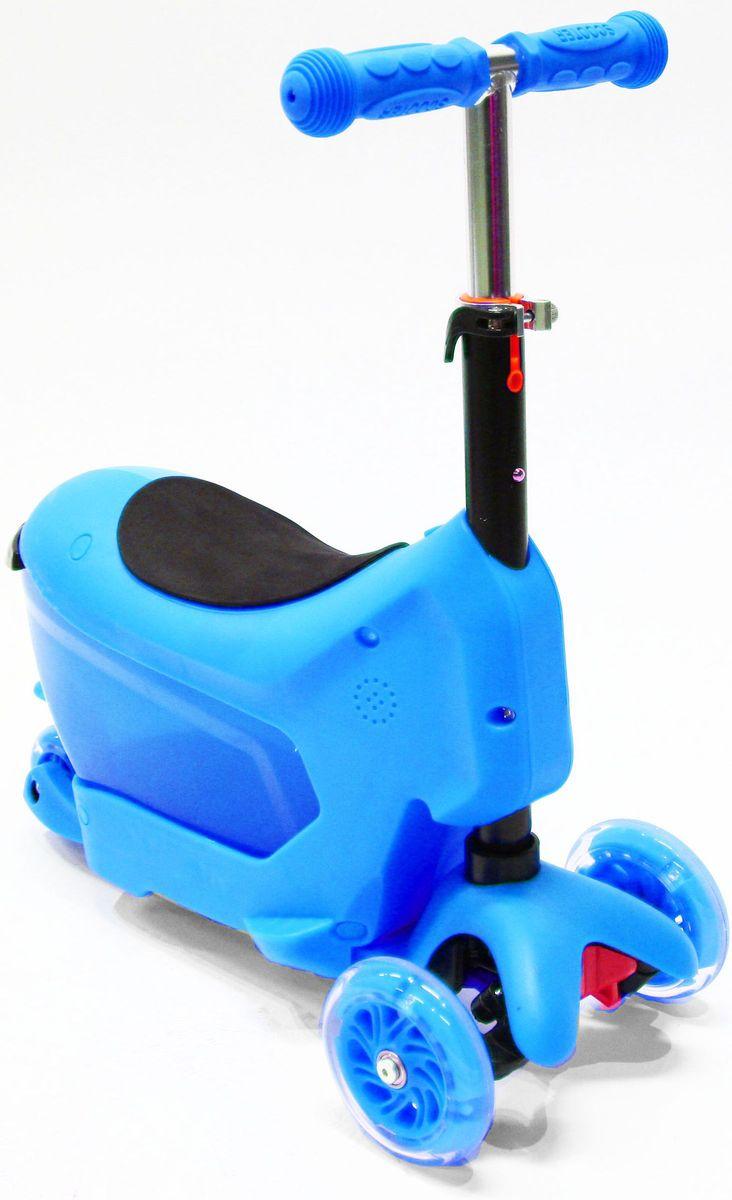 Самокат трехколесный Hubster Comfort, цвет: синийво2276Самокат Hubster Comfort обязательно понравится вашему ребенку.Hubster Comfort - детский трехколесный самокат-каталка, подходит для самых маленьких детей. Это универсальный самокат-трансформер с сиденьем 3 в 1: каталка с багажником (корзинкой) для игрушек, каталка без багажника, самокат с регулируемым по высоте рулем.Максимальная нагрузка на самокат - до 50 кг.Вес: 2 кг.Упаковка: 59 x 26 x 20 см (0,03 м3).Возраст oт 2 до 5 лет. Максимальная нагрузка до 50 кг.Уникальное рулевое управление.Высота руля: 50-72 см.Низкая платформа для удобства отталкивания от земли, задний тормоз-крыло.Мягкие резиновые ручки с ограничителями на концах - при падении меньше вероятность получить травму руки.Большие и проходимые передние колеса - 120 мм, подшипники ABEC-5.Широкая и устойчивая платформа с противоскользящим покрытием, выполнена из шороховатого пластика, длина - 36 см, ширина 11 см.