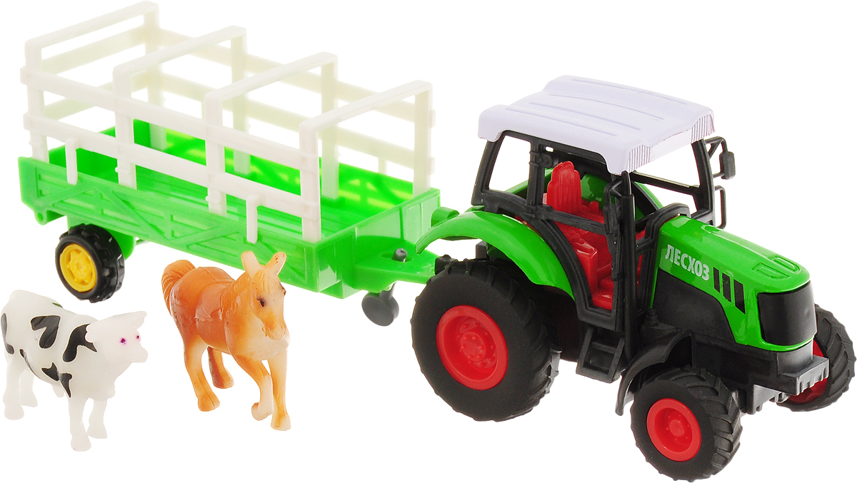 ТехноПарк Трактор инерционный с прицепом и животными авианосец инерционный технопарк