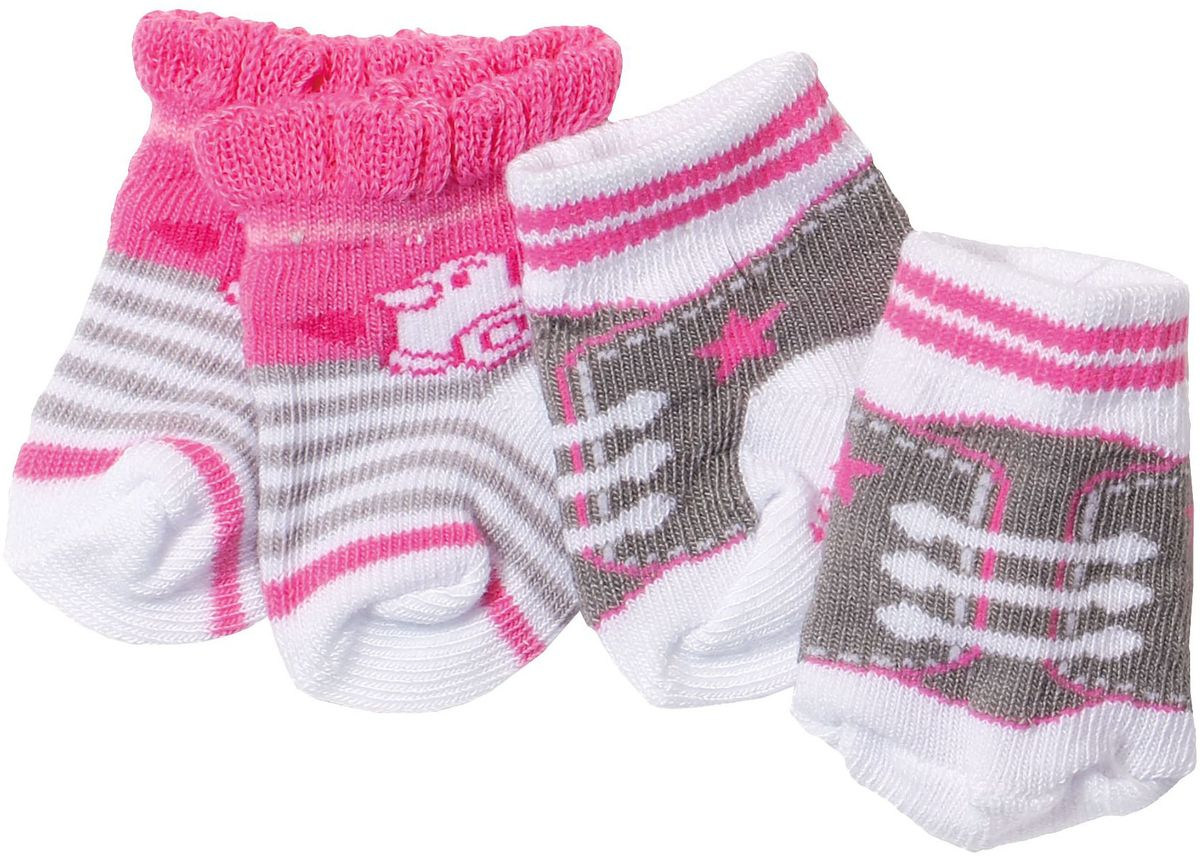 Baby Born Одежда для кукол Носочки 2 пары цвет белый, розовый, коричневый baby annabell одежда для кукол носки 2 пары цвет мятный белый