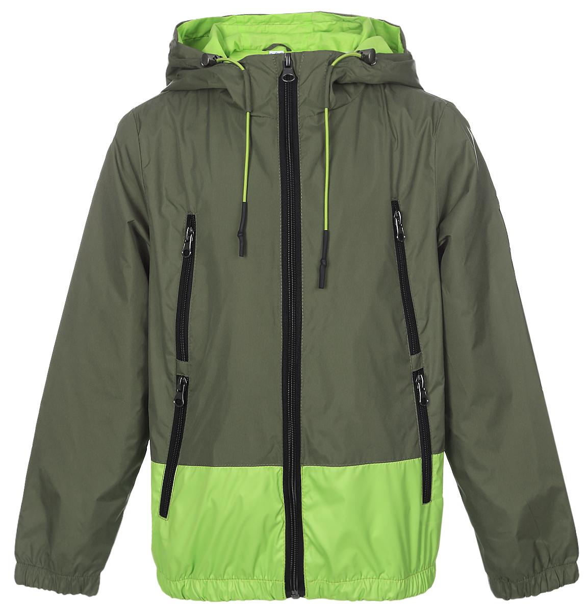 Куртка для мальчика Boom!, цвет: хаки, салатовый. 70038_BOB_вар.3. Размер 104, 3-4 года70038_BOB_вар.3Легкая куртка для мальчика Boom! c длинными рукавами и несъемным капюшоном выполнена из прочного полиэстера. Модель застегивается на застежку-молнию спереди. Объем капюшона регулируется при помощи шнурка-кулиски со стопперами. Изделие имеет четыре прорезных кармана на застежках-молниях спереди. Рукава оснащены широкими эластичными манжетами. Модель растет вместе с ребенком: специальный крой позволяет при необходимости увеличить длину рукавов на один размер.