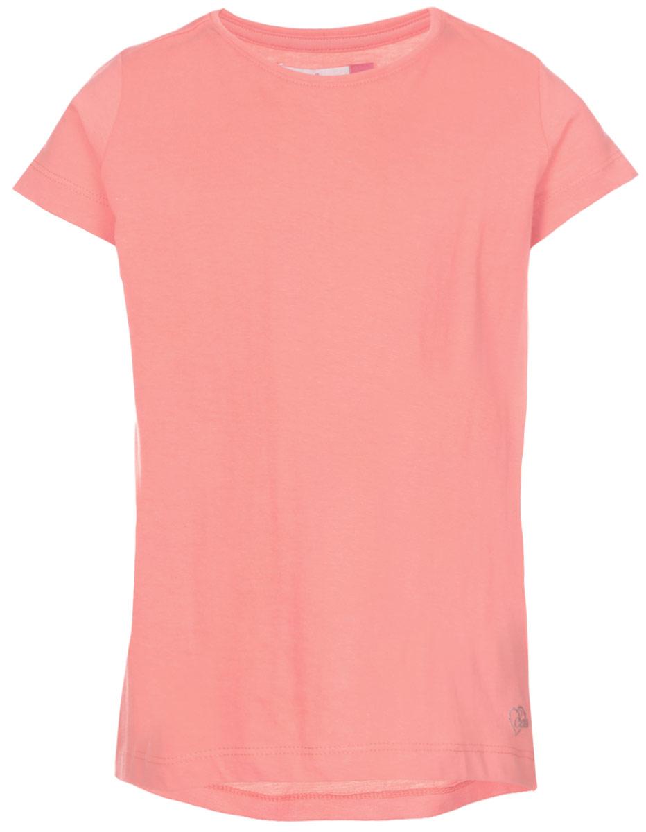 Футболка для девочки Sela, цвет: коралловый. Ts-611/341-7141. Размер 152, 12 лет футболка для девочки sela цвет лиловый tsl 611 984 7223 размер 152 12 лет