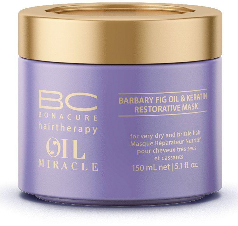 Bonacure Восстанавливающая маска Барбери Oil Miracle Mask 150 мл5914Восстанавливающая маска с маслом берберийской фиги максимально питает и разглаживает сухие и ломкие волосы, придавая им блеск и гладкость. Роскошная формула с микронизированным кератином глубоко восстанавливает фиброзную структуру волоса, волосы восстановлены, меньше подвержены повреждениям и наполнены блеском. Рекомедуется использова в комплексе с шампунем для сухих и ломких волос BC Oil Miracle Barbary Fig.