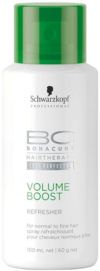 Bonacure Освежающий спрей Пышный Объем Volume Boost Refresher 100 млE1677600Освежающий спрей придающий объем тонким и слабым волосам. Не содержащий воды ухаживающий комплекс имеет в своем составе рисовый крахмал и спирт, который очищает даже очень тонкие волосы. После нанесения спирт испаряется оставляя ощущение свежести, а рисовый крахмал поддерживает объем. Спрей не утяжеляет волосы, благодаря сбалансированной формуле делает волосы более послушными и предотвращает электризацию. Для тонких, сухих волос. Рекомендуется использовать в комплексе с шампунем и муссом BC Volume Boost