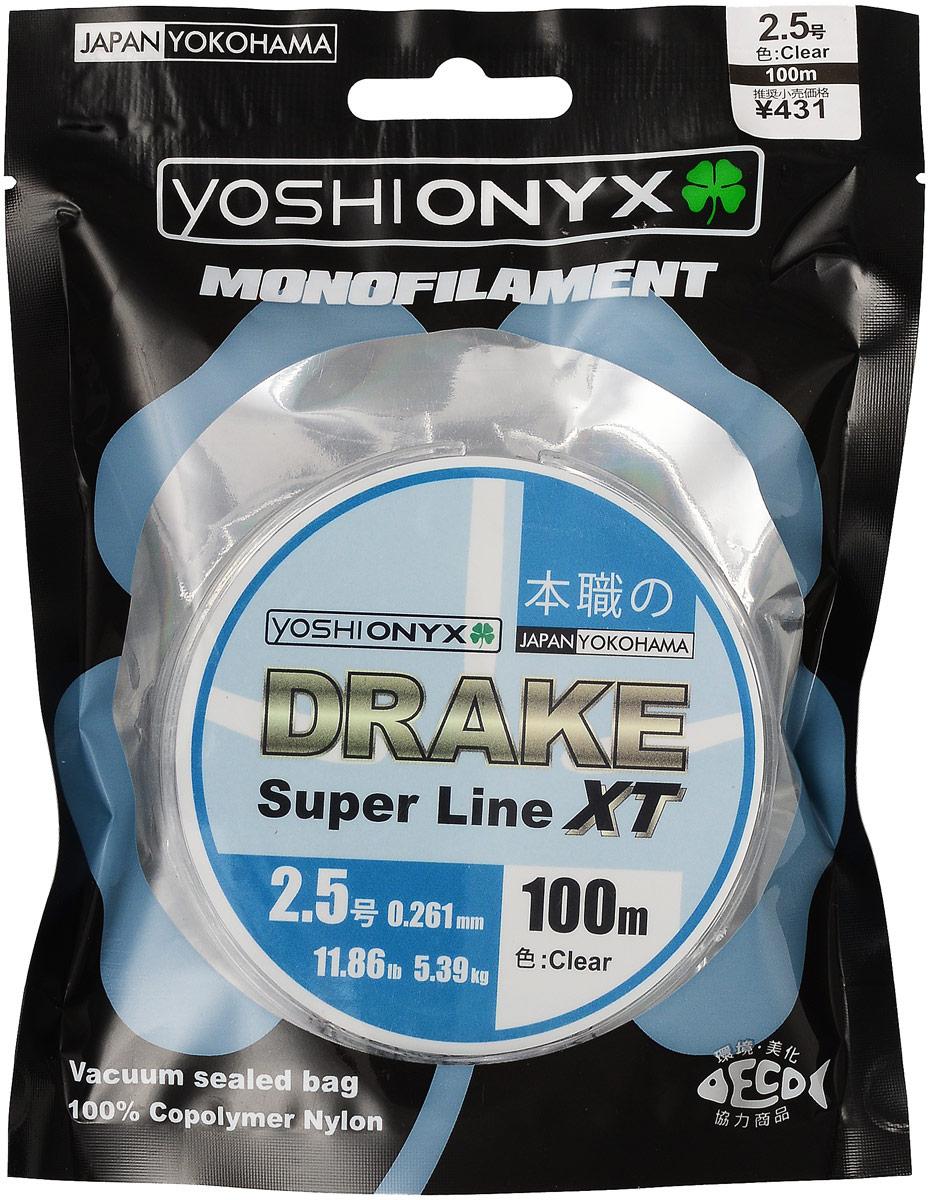 Леска Yoshi Onyx Drake Super Line XT, цвет: прозрачный, 100 м, 0,261 мм, 5,39 кг89472Леска Yoshi Onyx Drake Super Line XT выполнена из прозрачного монофила (нейлон), что делает ее универсальной. Скользкий и мягкий, этот материал невероятно прочен и отлично выдерживает разрывную нагрузку на большинстве узлов. Леска обладает непревзойденными водоотталкивающими свойствами и практически незаметна в воде, что делает ее незаменимой при ловле в условии низких температур. Данная леска обладает повышенной устойчивостью к истиранию, прочностью и превосходной чувствительностью.