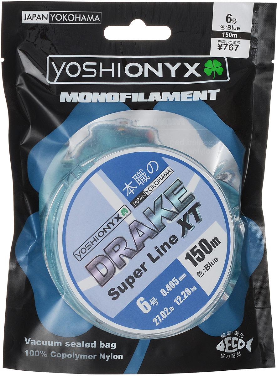 Леска Yoshi Onyx Drake Super Line XT, цвет: голубой, 150 м, 0,405 мм, 12,28 кг89482Леска Yoshi Onyx Drake Super Line XT выполнена из голубого монофила (нейлон). Скользкий и мягкий, этот материал невероятно прочен и отлично выдерживает разрывную нагрузку на большинстве узлов. Леска обладает непревзойденными водоотталкивающими свойствами и практически незаметна в воде, что делает ее незаменимой при ловле в условии низких температур. Создана специально для ловли на различные искусственные приманки. Данная леска обладает повышенной устойчивостью к истиранию, прочностью и превосходной чувствительностью. Она очень эластичная, практически не имеет памяти, строго соответствует заявленным тестовым нагрузкам и диаметру.