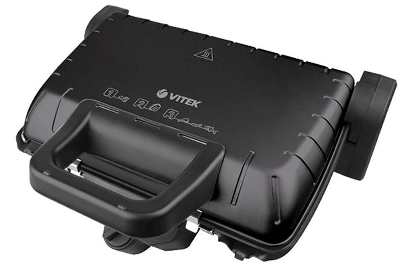 Vitek VT-2632 (BK) электрогрильVT-2632(BK)Гриль-пресс Vitek 2632 обладает компактными размерами, надежной конструкцией и удобной системой управления. Антипригарное покрытие пластин позволяет готовить диетическую пищу без добавления масла.Благодаря мощности нагрева в 2000 Вт он обеспечивает сверхскоростное приготовление, позволяя за короткое время получить вкусное и полезное мясное блюдо.Способ открытия крышки: 4 фиксированных положения (в том числе 180° и 90° градусов)