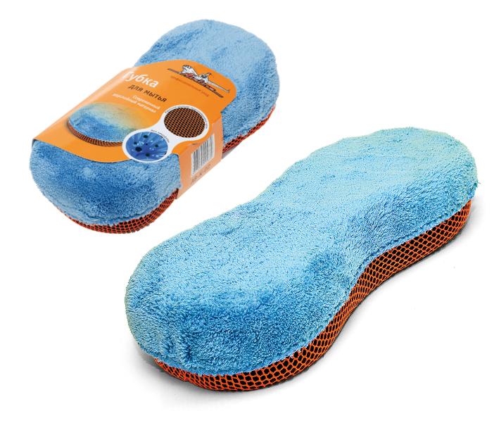 Купить Губка для мытья автомобиля Airline , из микрофибры и коралловой ткани, 24 х 11 см