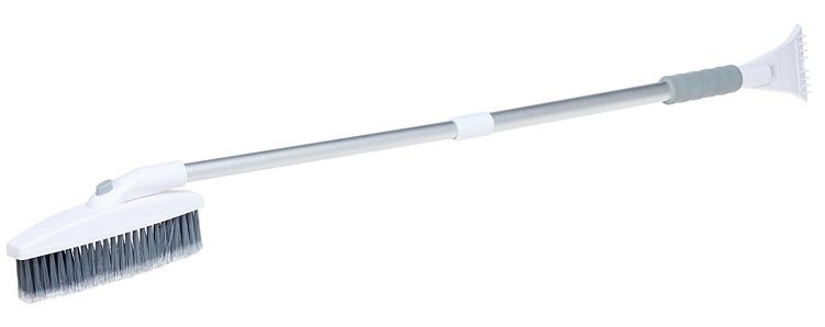 Щетка от снега и льда Airline, с телескопрукояткой и мягкой распушенной щетиной, 113 смAB-R-06RЩетка данной модели оснащена телескопической ручкой и изготовлена из морозоустойчивого прочного пластика. Щетина щетки – средней длины и жесткости. Для удобства при эксплуатации модель оснащена возможностью регулировки положения щетины и ее угла наклона. Таким образом, щетка дает возможность производить уборку даже в самых труднодоступных местах. Кроме того, для удаления наледи предусмотрен компактный скребок с гладкой поверхностью, не оставляющей царапин. Корпус ручки выполнен в белом цвете, а щетина изготовлена из серого материала.Длина в разложенном виде - 113 смДлина в сложенном виде - 76 см