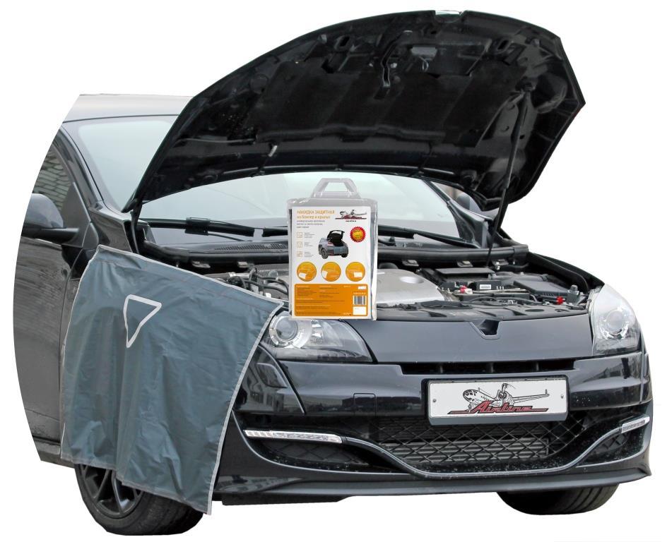 Накидка защитная Airline, на бампер и крылья, цвет: серый, 100 х 72 смAO-PC-17Защитная накидка на бампер и крылья Airline - это универсальное изделие, которое является надежным помощником при ремонте транспортного средства. Изделие фиксируется на корпусе автомобиля при помощи специальных липучек и магнитов. Защищает покрытие машины от загрязнений и механических повреждений лакокрасочного покрытия. Имеет светоотражающий знак аварийной остановки и универсальное крепление.Преимущества: - Защищает одежду от загрязнения.- Защищает автомобиль от механических повреждений при ремонте.- Защищает обивку багажника от грязи, пыли и пятен масла.- Износостойкий материал.- Легко моется.- Многофункциональность применения.