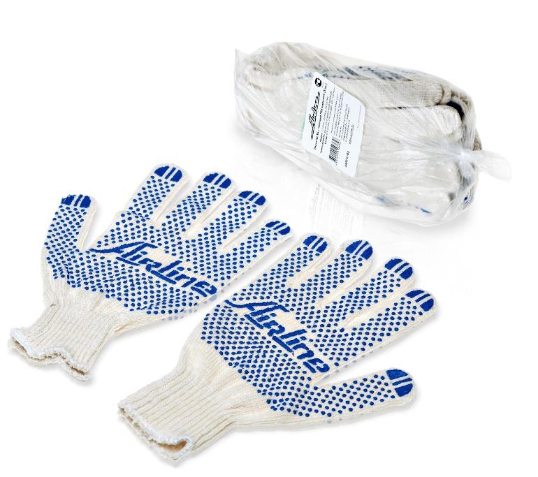 Перчатки Airline, с ПВХ покрытием, цвет: белый, голубой, 150Т/7,5 класс, 5 парAWG-C-01Перчатки Airline предназначены для защиты рук от механических повреждений при выполнении работ на производстве, в строительстве и в быту. Точечное покрытие ладони перчаток из поливинилхлорида обеспечивает хорошее сцепление с инструментами и поверхностями, предотвращает проскальзывание рук во время работы. Преимущества:Защита рук от повреждения и загрязнений.Хорошее сцепление благодаря ПВХ покрытию.Не маркие.150Т/7,5 класс.