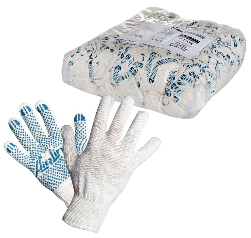 Перчатки Airline, с ПВХ покрытием, цвет: белый, голубой, 150Т/7,5 классAWG-C-02Перчатки Airline предназначены для защиты рук от механических повреждений при выполнении работ на производстве, в строительстве и в быту. Точечное покрытие ладони перчаток из поливинилхлорида обеспечивает хорошее сцепление с инструментами и поверхностями, предотвращает проскальзывание рук во время работы.Преимущества: Защита рук от повреждения и загрязнений. Хорошее сцепление благодаря ПВХ покрытию. Не маркие. 150Т/7,5 класс.