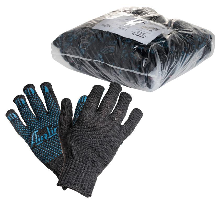 Перчатки Airline, с ПВХ покрытием, цвет: черный, голубойAWG-C-04Перчатки Airline предназначены для защиты рук от механических повреждений при выполнении работ на производстве, в строительстве и в быту. Точечное покрытие ладони перчаток из поливинилхлорида обеспечивает хорошее сцепление с инструментами и поверхностями, предотвращает проскальзывание рук во время работы. Преимущества:Защита рук от повреждения и загрязнений.Хорошее сцепление благодаря ПВХ покрытию.Не маркие.140Т/7,5 класс.