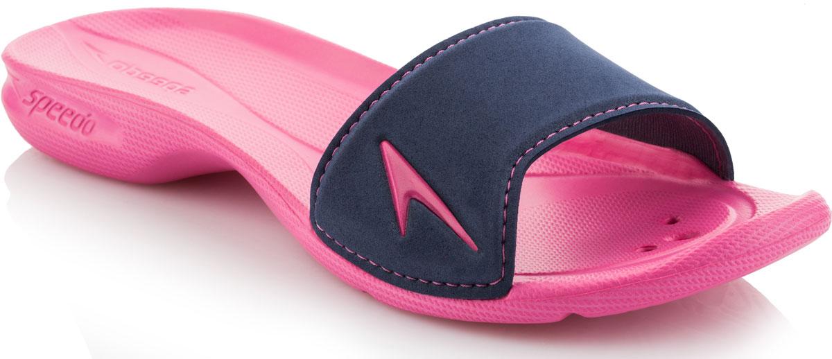 Шлепанцы женские Speedo Atami II, цвет: розовый, темно-синий. 8-09073B548-B548. Размер 6 (39)8-09073B548-B548Женские шлепанцы Atami II от Speedo отлично подойдут для пляжа или бассейна. Верх модели выполнен из термополиуретана. Эргономичная посадка, повторяющая контуры и рельеф стопы, обеспечивает непревзойденный комфорт и удобство. Дренажные отверстия в подошве обеспечивают быстрое удаление влаги и дополнительную вентиляцию. Специальный рисунок подошвы с внутренней стороны предотвращает выскальзывание ноги, с внешней стороны - гарантирует оптимальное сцепление при ходьбе.