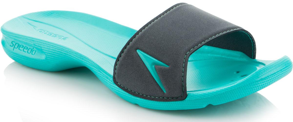Шлепанцы женские Speedo Atami II, цвет: бирюзовый, темно-серый. 8-09073B551-B551. Размер 4 (37)8-09073B551-B551Женские шлепанцы Atami II от Speedo отлично подойдут для пляжа или бассейна. Верх модели выполнен из термополиуретана. Эргономичная посадка, повторяющая контуры и рельеф стопы, обеспечивает непревзойденный комфорт и удобство. Дренажные отверстия в подошве обеспечивают быстрое удаление влаги и дополнительную вентиляцию. Специальный рисунок подошвы с внутренней стороны предотвращает выскальзывание ноги, с внешней стороны - гарантирует оптимальное сцепление при ходьбе.