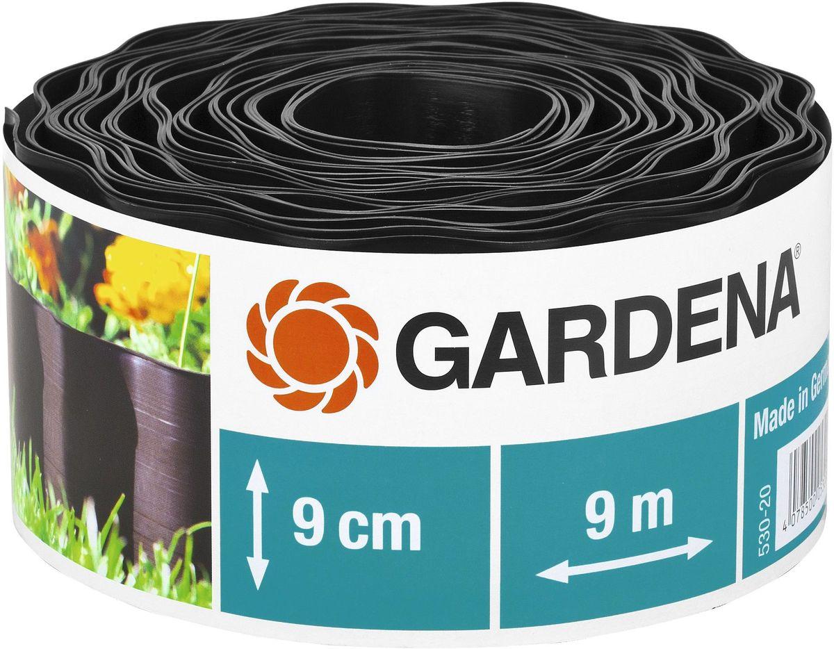 Бордюр декоративный Gardena, цвет: черный, ширина 9 см, длина 9 м00530-20.000.00Декоративный бордюр Gardena, выполненный из высококачественного пластика, обеспечивает чистоту краев газона. Изделие позволяет добиться порядка на участке, предотвращая распространение корней и чрезмерный рост растительности, отделяя при этом газон от грядок. В рулоне 9 м бордюра высотой 9 см.