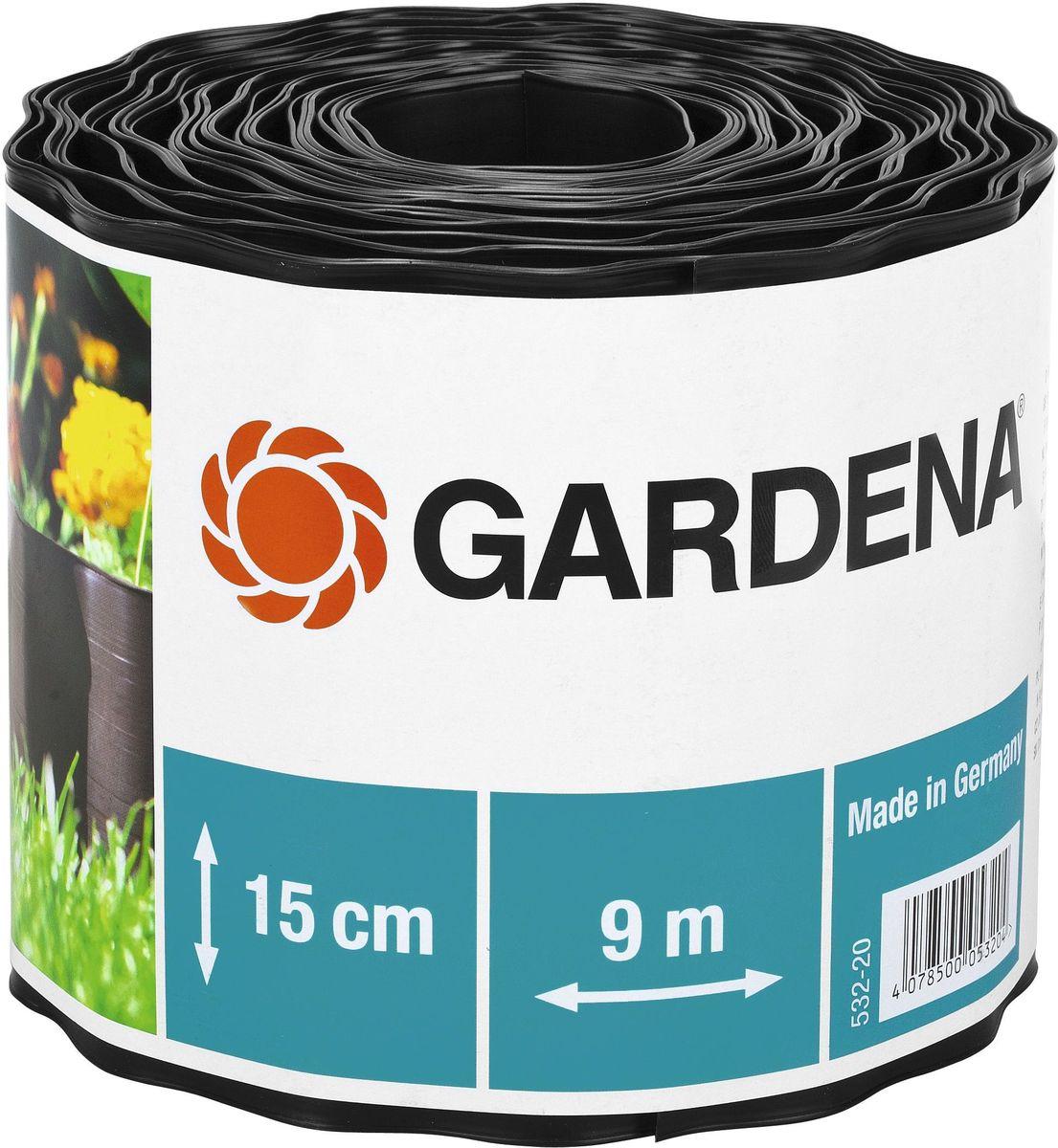 Бордюр декоративный Gardena, цвет: черный, ширина 15 см, длина 9 м00532-20.000.00Декоративный бордюр Gardena, выполненный из высококачественного пластика, обеспечивает чистоту краев газона. Изделие позволяет добиться порядка на участке, предотвращая распространение корней и чрезмерный рост растительности, отделяя при этом газон от грядок. В рулоне 9 м бордюра высотой 15 см.