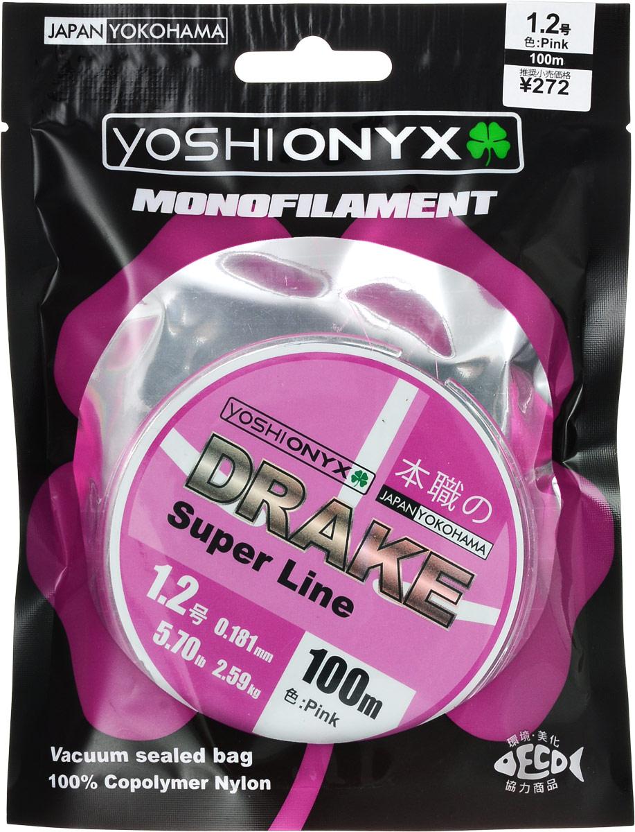 Леска Yoshi Onyx Drake Super Line, цвет: розовый, 100 м, 0,181 мм, 2,59 кг