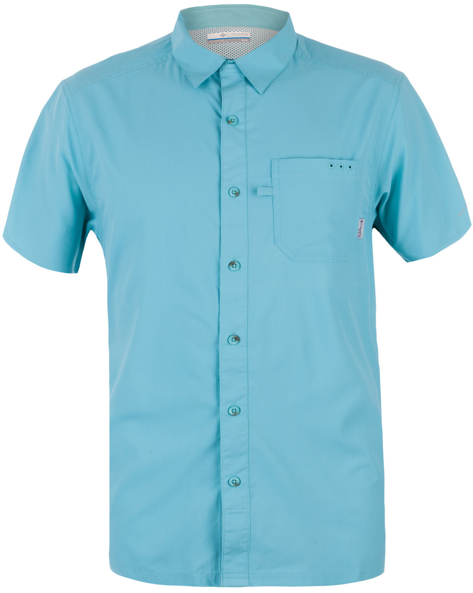 Рубашка мужская Columbia Slack Tide Camp Shirt, цвет: бирюзовый. 1577051-909. Размер XXL (56/58)1577051-909Мужская рубашка Columbia с коротким рукавом выполнена из синтетического быстросохнущего материала. Изделие прямого кроя, имеется нагрудный накладной карман. Технология Omni-Wick быстро впитает влагу и отведет ее от тела, а технология Omni-Sahde UPF 50 защищает от UV лучей. Прекрасный вариант для активного отдыха в жаркое время года.