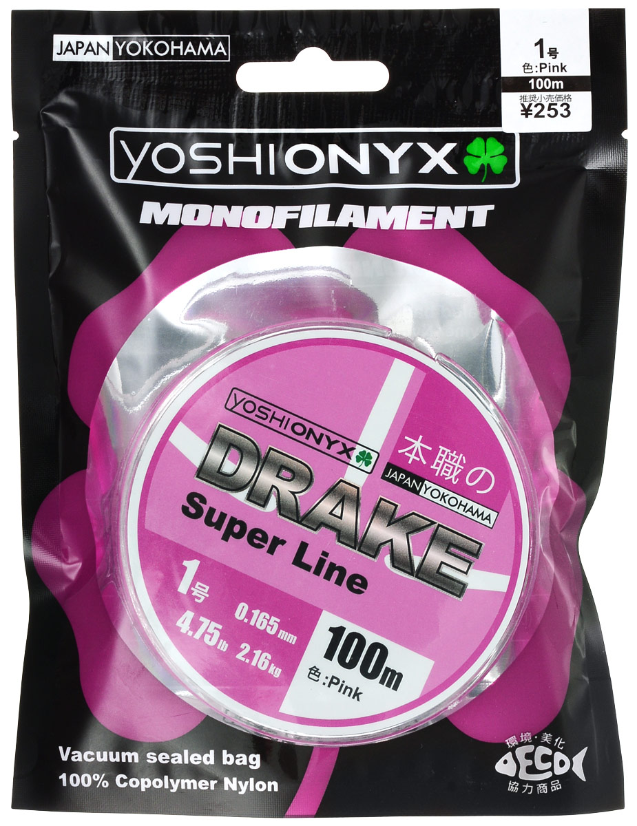 Леска Yoshi Onyx Drake Super Line, цвет: розовый, 100 м, 0,165 мм, 2,16 кг леска плетеная yoshi onyx nite 4 multicolor 0 23 мм 150 м 15 9 кг