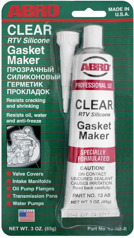 Герметик прокладок Abro, цвет: прозрачный, 85 г13-ABМногоцелевые герметики прокладок Blue, Red, Clear, Black предназначены для ремонта или замены почти всех встречающихся в автомобиле прокладок. Герметик ABRO принимает любую форму и успешно выдерживает сжатие, растяжение и сдвиг. Совершенно не разрушается под действием автомобильных масел, воды и антифриза. Также герметик ABRO обладает высокой стойкостью к бензину и тормозной жидкости. Более мягкий герметик прокладок Blue (синий), также как Clear и Black (прозрачный, черный), предназначен для применения при температурах до 260°С, в то время как герметик прокладок Red (красного цвета) разработан для более высоких температур до 343°С.
