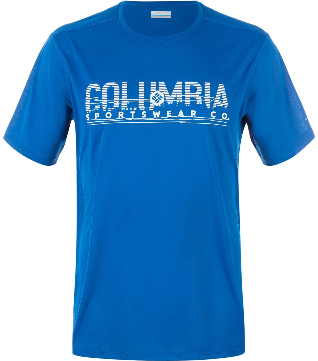 Футболка мужская Columbia Tech Trek Graphic SS Shirt T-shirt, цвет: синий. 1711801-438. Размер M (46/48)1711801-438Мужская футболка Columbia изготовлена из высококачественного быстросохнущего полиэстера. Футболка с круглым вырезом горловины и короткими рукавами незаменима для занятий спортом. Крупный принт на груди придает изделию оригинальность.