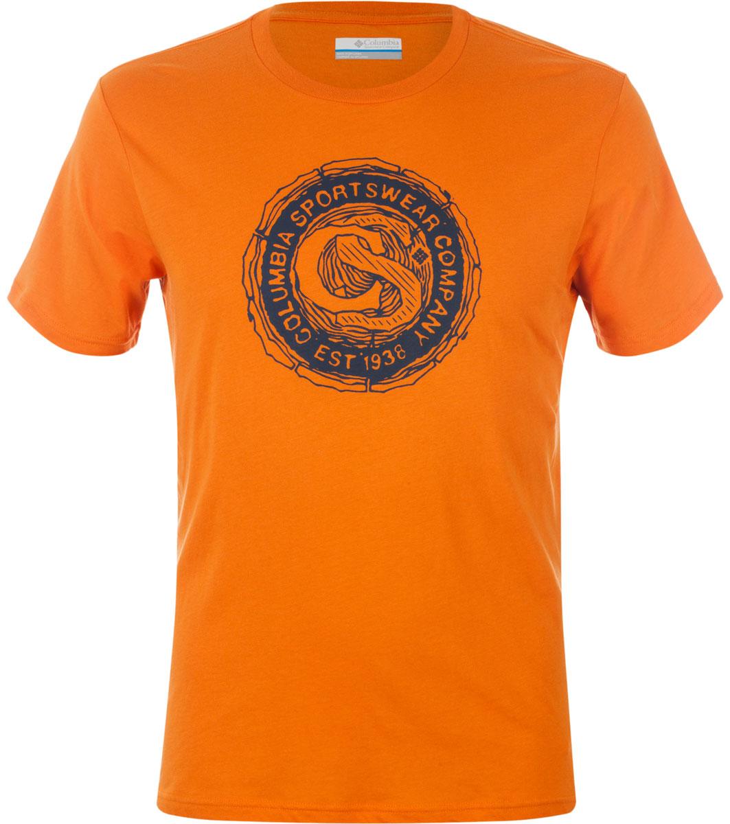 Футболка мужская Columbia Carved Ridge SS T-shirt, цвет: оранжевый. 1713461-996. Размер S (44/46)1713461-996Футболка Columbia - оптимальный вариант для активного отдыха и повседневного использования. Модель выполнена из хлопка, что обеспечивает максимально комфортные ощущения во время использования. Крупный принт на груди придает изделию оригинальность.