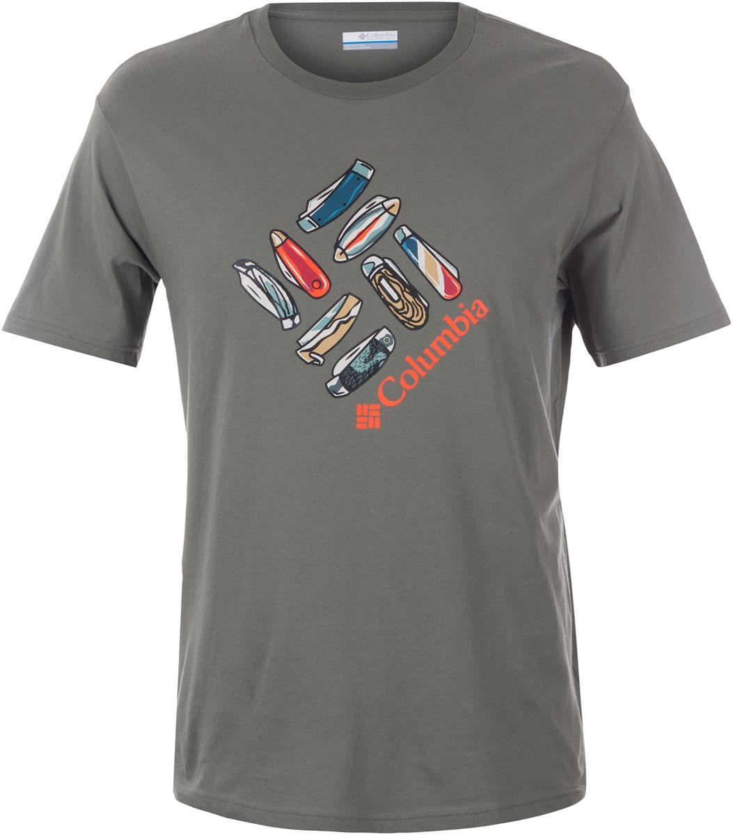 Футболка мужская Columbia Washouga Tools SS T-shirt, цвет: серый. 1713481-316. Размер S (44/46)1713481-316Футболка Columbia - оптимальный вариант для активного отдыха и повседневного использования. Модель выполнена из хлопка, что обеспечивает максимально комфортные ощущения во время использования. Крупный принт на груди придает изделию оригинальность.