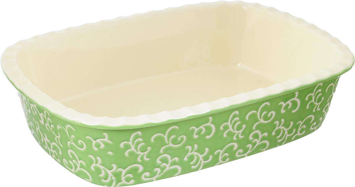 Форма для запекания Appetite, прямоугольная, цвет: зеленый, 30 х 22 х 7,5 смYR2026A-12Форма для запекания Appetite изготовлена из экологически чистой жаропрочной керамики с глазурованным покрытием. Изделие обеспечивает равномерное приготовление блюд по всей поверхности и долго сохраняет тепло. Пища, приготовленная в керамической посуде, сохраняет свои вкусовые качества и не может нанести вред здоровью человека, благодаря экологической чистоте материала. Керамика - один из самых лучших материалов, который удерживает тепло, медленно и равномерно его распределяет. Такая форма подходит для запекания и тушения разнообразных блюд: мяса, птицы, овощей. Посуда не впитывает посторонние запахи, не изменяет вкус продуктов и легко чистится. Внешние стенки изделия дополнены красивым рельефным узором. Форма пригодна для использования в духовом шкафу и в микроволновой печи при температуре до 220°С. Можно использовать для хранения продуктов в холодильнике. Пригодна для мытья в посудомоечной машине.