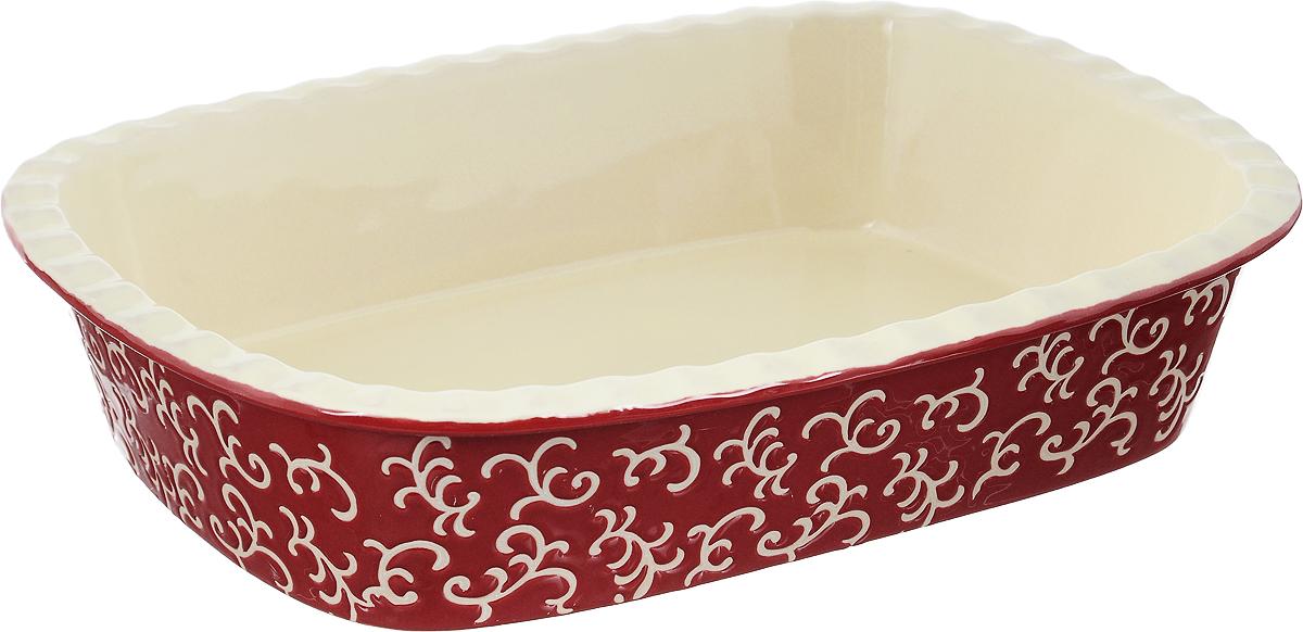"""Форма для запекания """"Appetite"""" изготовлена из экологически чистой жаропрочной керамики с глазурованным покрытием. Изделие обеспечивает равномерное приготовление блюд по всей поверхности и долго сохраняет тепло. Пища, приготовленная в керамической посуде, сохраняет свои вкусовые качества и не может нанести вред здоровью человека, благодаря экологической чистоте материала. Керамика - один из самых лучших материалов, который удерживает тепло, медленно и равномерно его распределяет. Такая форма подходит для запекания и тушения разнообразных блюд: мяса, птицы, овощей. Посуда не впитывает посторонние запахи, не изменяет вкус продуктов и легко чистится. Внешние стенки изделия дополнены красивым рельефным узором. Форма пригодна для использования в духовом шкафу и в микроволновой печи при температуре до 220°С. Можно использовать для хранения продуктов в холодильнике. Пригодна для мытья в посудомоечной машине.      Как выбрать форму для выпечки – статья на OZON Гид."""
