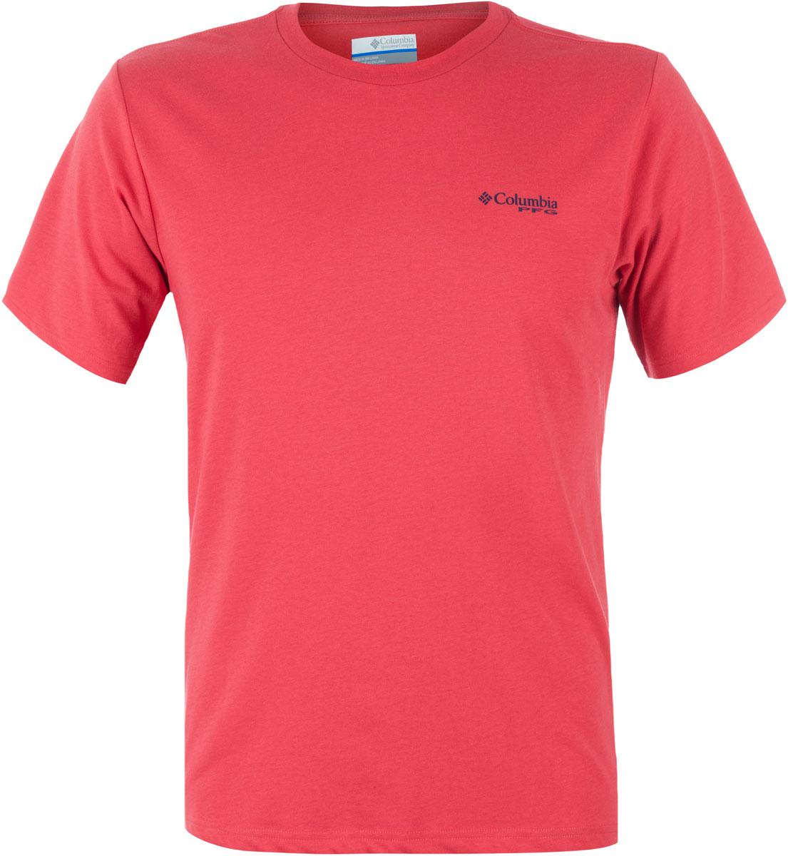 Футболка мужская Columbia PFG Elements Marlin II SS T-shirt, цвет: красный. 1717151-683. Размер XL (52/54)
