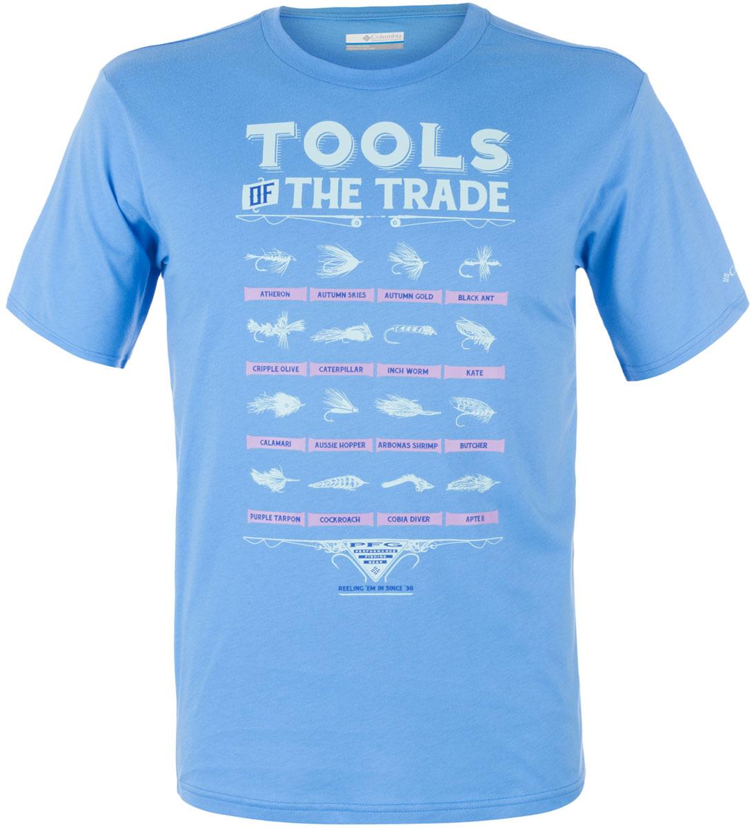 Футболка мужская Columbia PFG Tools Elements SS T-shirt , цвет: голубой. 1717221-475. Размер S (44/46)