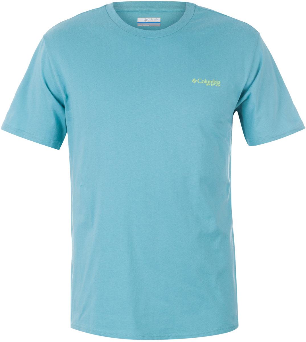 Футболка мужская Columbia PFG Tools Elements SS T-shirt, цвет: бирюзовый. 1717221-909. Размер S (44/46)1717221-909Футболка Columbia - оптимальный вариант для активного отдыха и повседневного использования. Модель выполнена из хлопка, что обеспечивает максимально комфортные ощущения во время использования.