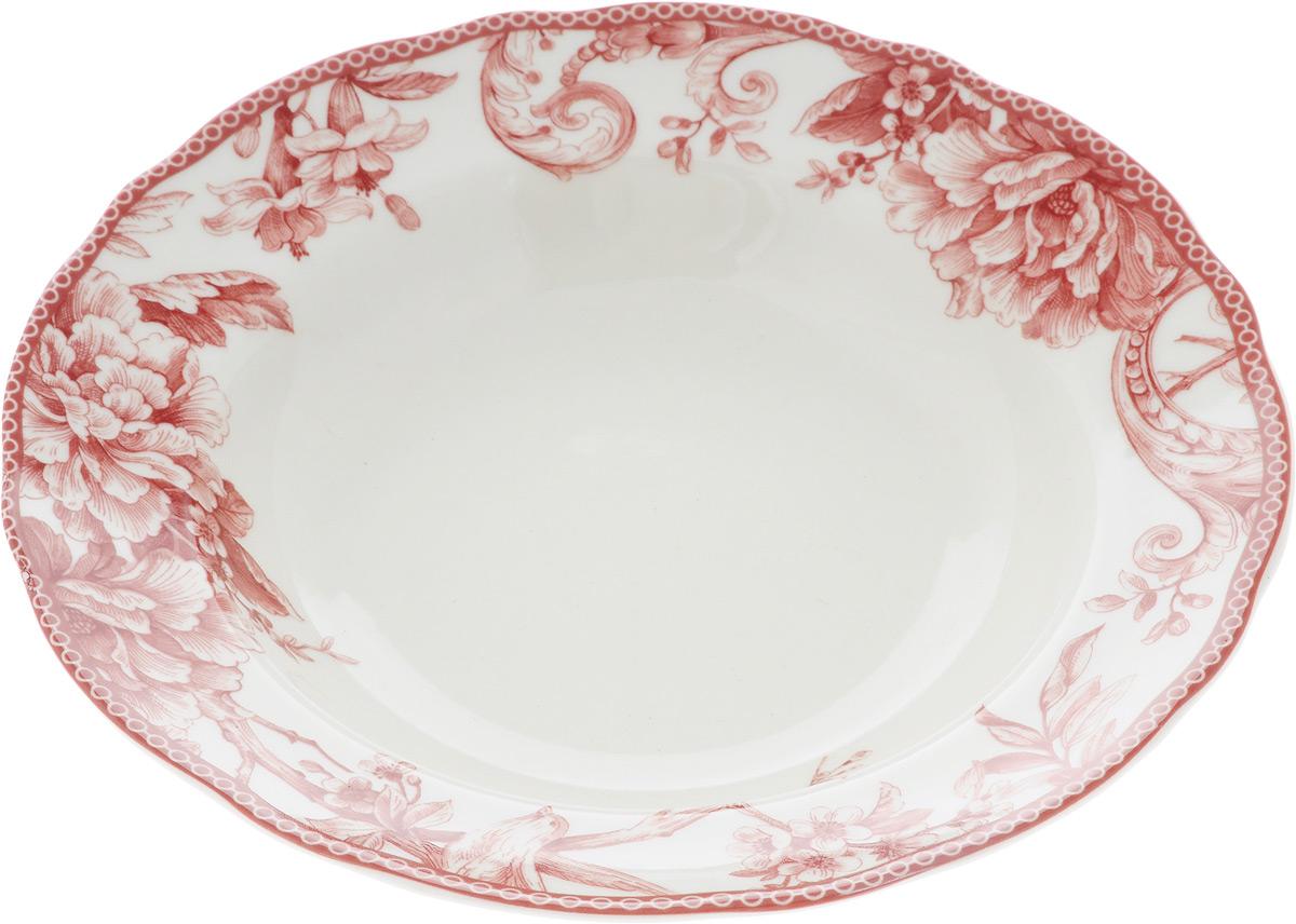 Тарелка глубокая Sango Ceramics Аделаида Бордо, диаметр 23,5 смUTAB97920Глубокая тарелка Sango Ceramics Аделаида Бордо изготовлена из высококачественной керамики. Она украшена ярким цветочным рисунком. Такая тарелка сочетает в себе изысканный дизайн с максимальной функциональностью. Тарелка прекрасно впишется в интерьер вашей кухни и станет достойным подарком к любому празднику.Диаметр тарелки (по верхнему краю): 23,5 см.Высота тарелки: 4,5 см.